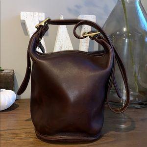 Coach Vintage Brown Leather Bucket Bag Crossbody